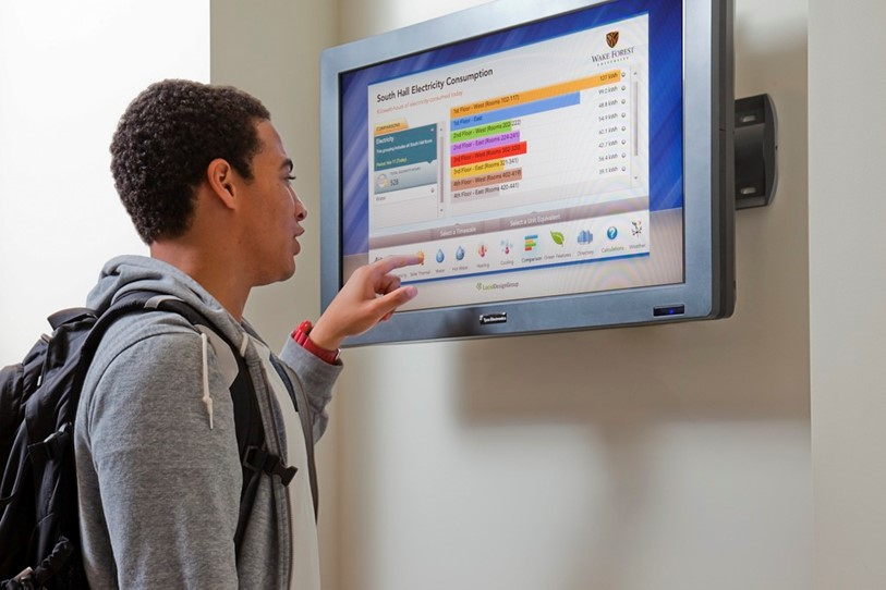 South Hall is one of two buildings on the Wake Forest campus that allows occupants to monitor energy and water usage through a Lucid Dashboard.