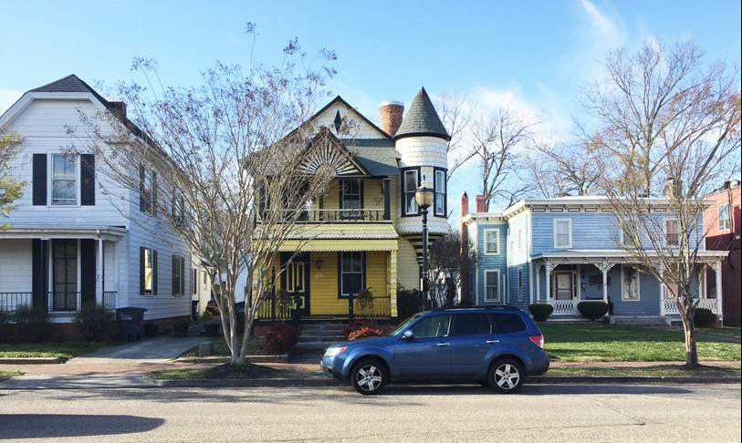 Victorian houses on Main Street are representative of the character of Smithfield, Virginia.